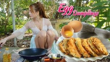 Alida Cooking Egg Dumplings, Korean Style Dish