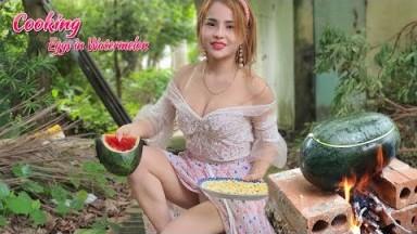 Alida Cooking   Eggs in Watermelon Recipe