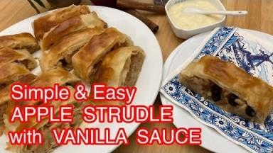 Resep praktis membuat apel strudel filo pastry dengan saus vanila #vlog 15 || Dessert mudah & cepat